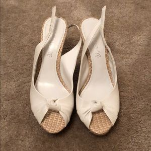 Aldo White Sling-back Wedges